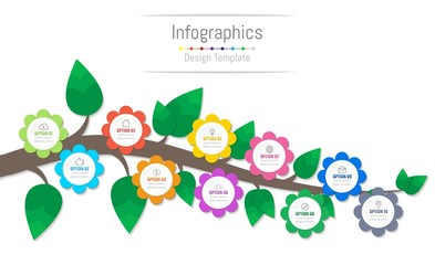 Infographic design elements for your business data with 10 options, parts, steps, timelines or processes, flowers and branch concept. Vector Illustration.