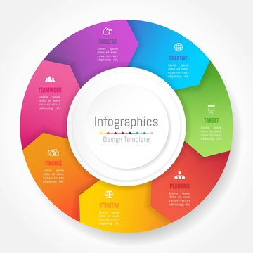 Infographic design elements for your business data with 7 options, parts, steps, timelines or processes, Arrow wheel circle style. Vector Illustration.