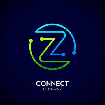 Letter Z logo, Circle shape symbol, green and blue color, Technology and digital abstract dot connection