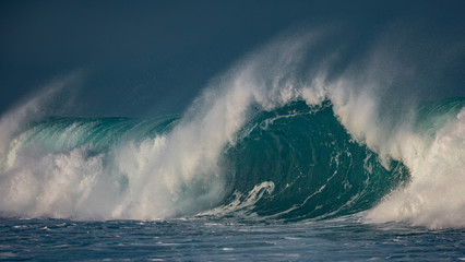 Giant waves of Pacific ocean. Surfing sea water with nobody on image