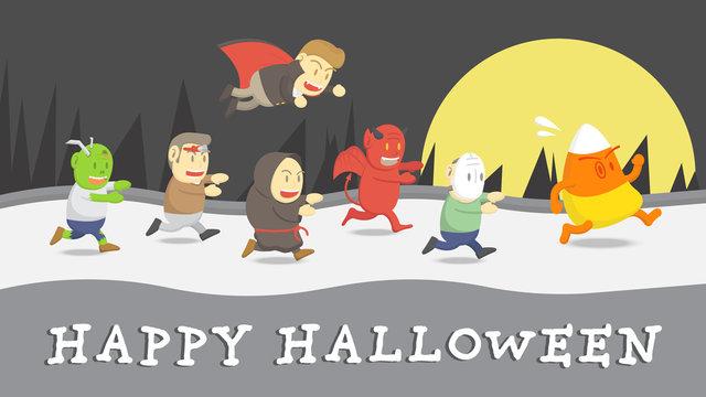 Halloween cute cartoon run to catch big candy corn, Vector halloween cartoon characters in flat vector style