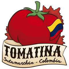 Tomato, Ribbon and Colombian Flag for Tomatina Event in Sutamarchan, Vector Illustration