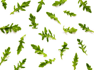 Arugula pattern. Isolated on white with clipping path. Frame made of arugula leaves. Flat lay, top view