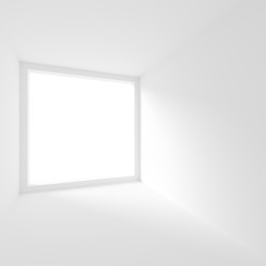 White Empty Room with Window. Modern Interior Background. Creative Engineering Concept