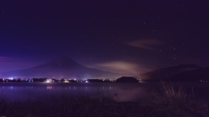 night landscape view from kawaguchi lake with fuji mountain range background (soft focus) from japan