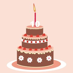 Birthday cake with candle. Chocolate cake with fruit. Birthday wish. Postcard. Vector icon.