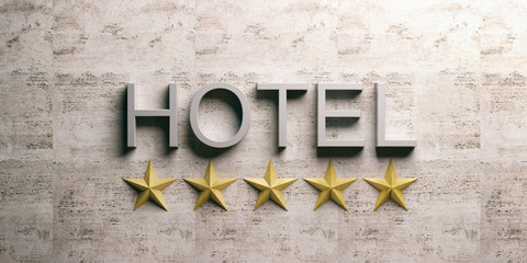 Hotel sign on marble background. 3d illustration