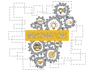 Vector creative illustration of business innovation word lettering typography with line icons, tag cloud on white background. Innovation technology concept. Thin line art style design for innovations.