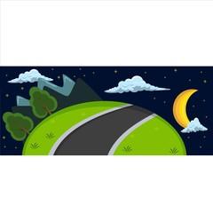 Hill at night background cartoon