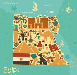 Map of Egypt with traditional symbols