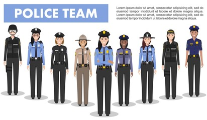 Police people concept. Detailed illustration of SWAT officer, policewoman and sheriff in flat style on white background. Vector illustration.