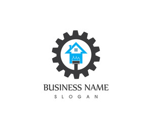 Building Home Painting Service Logo