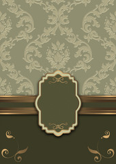 Wall Mural - Vintage background with frame and decorative pattern.