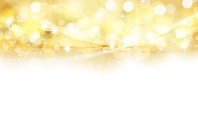 金色のボケ 光と曲線 背景