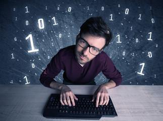 Online intruder geek guy hacking codes