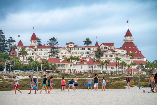 SAN DIEGO, CA - JULY 30, 2017: Hotel del Coronado is a historic beachfront hotel in the city of Coronado, just across the San Diego Bay from San Diego