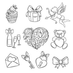 Hand drawn valentines day icons.