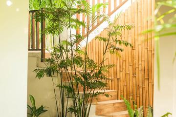 a nice traditional bamboo interior design on stair photo taken in yogyakarta indonesia