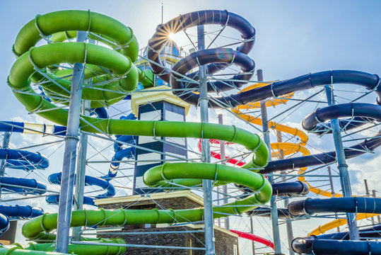Colorful water slides in aquapark
