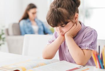 Lazy girl doing her homework