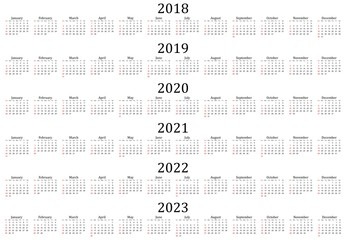 Six year calendar - 2018, 2019, 2020, 2021, 2022 and 2023 in white background.