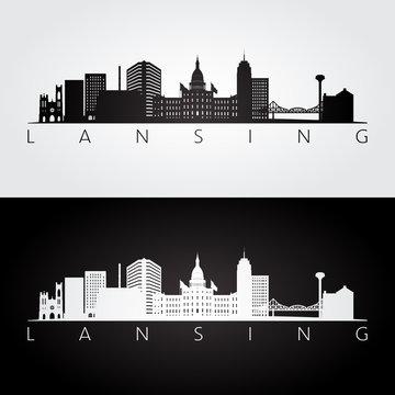 Lansing USA skyline and landmarks silhouette, black and white design, vector illustration.