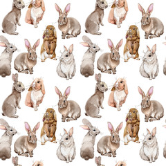 Rabbit wild animal pattern in a watercolor style. Full name of the animal: rabbit. Aquarelle wild animal for background, texture, wrapper pattern or tattoo.