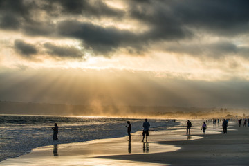 Backlit people on the beach at sunset, San Diego