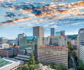 Aerial city skyline of Portland on a beautiful sunny day, OR
