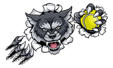 Wolf Tennis Mascot Breaking Background