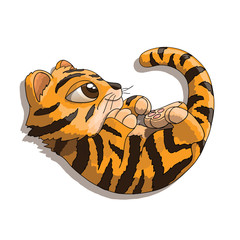 Tiger cub cartoon character playing with his tail
