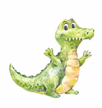 cartoon vector watercolor crocodile