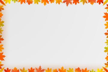autumn maple leaf border composition