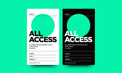 All Access Pass Template with Name Date City and Venue Details Wall mural