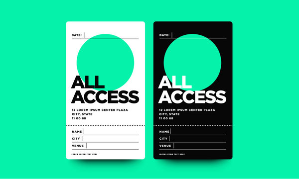 All Access Pass Template with Name Date City and Venue Details