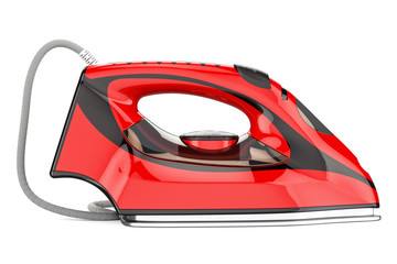 Red electric steam iron, 3D rendering