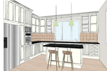 3D rendering. Modern kitchen design in light interior. Kitchen sketch. There is also a kitchen island in the room. Kitchen and living room combined. Interior design.