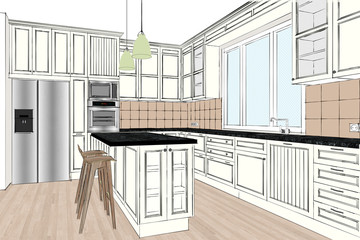 3D rendering. Classic kitchen design in light interior. Kitchen sketch. There is also a kitchen island in the room. Kitchen and living room combined. Interior design.