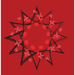 Abstract stylized red flower ,Sacral geometry. graphic design element for web design, prints on clothes and t-shirts, banners