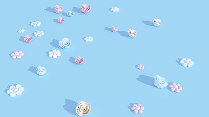 3d rendering picture of pastel color flower paper crafts.