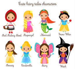 Cute kawaii fairy tales characters. Snow white, red riding hood, rapunzel, cinderella and other princess in beautiful dresses. Cartoon style