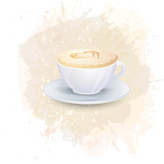 White cup with coffee drink on a abstract watercolor spot background. Trendy soft colors.