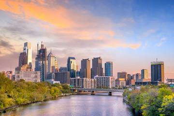 Fototapete - Downtown Skyline of Philadelphia, Pennsylvania at sunset