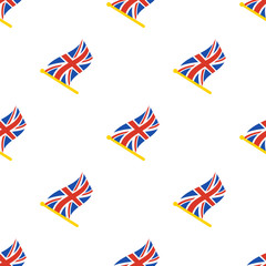 Vector illustration. Seamless pattern with flags of United Kingdom on flagstaff on white background
