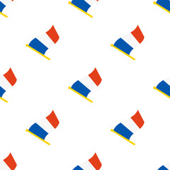 Vector illustration. Seamless pattern with flags of France on flagstaff on white background