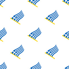 Vector illustration. Seamless pattern with flags of Greece on flagstaff on white background