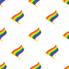 Vector illustration. Seamless pattern with flags of LGBT community on flagstaff on white background