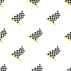 Vector illustration. Seamless pattern with chequered racing flags on flagstaff on white background