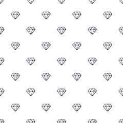 Vector illustration. Seamless pattern with doodles of diamonds on white background