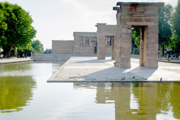 The Temple of Debod (Templo de Debod) an ancient Egyptian temple rebuilt in Madrid, Spain